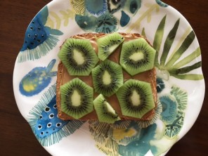 kiwi peanut butter toast