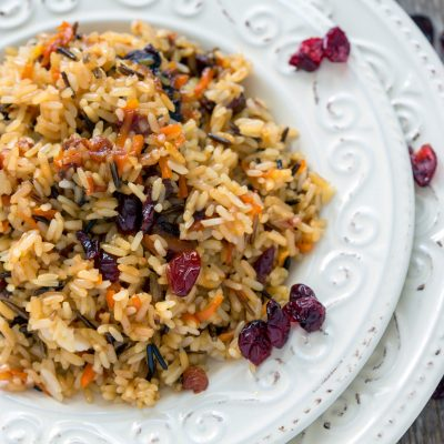 a dish of rice pilaf