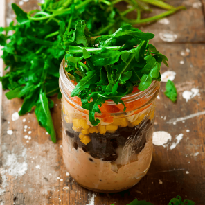a taco salad in a jar